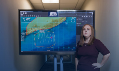 GTRI Research Scientist Tara Madden, shown with an AVIA screen, led development of the user interface.