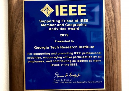 Award-plague-presented-to-the-Georgia-Tech-Research-Institute-(GTRI)-from-the-Institute-of-Electrical-and-Electronics-Engineers-(IEEE)